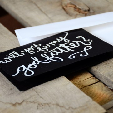 Godfather Invitations by Your New Friend Sam - Black Cardstock with White Embossing