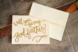 Godfather Invitations by Your New Friend Sam - Cream Cardstock with Gold Glitter Embossing