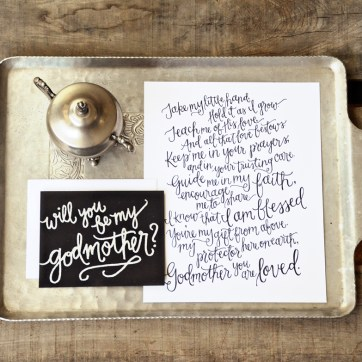 Godmother Invitations by Your New Friend Sam - Black Cardstock with White Embossing and Printed Poem 2