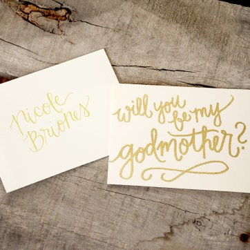 Godmother Invitations by Your New Friend Sam - Cream Cardstock with Gold Glitter Embossing and Personalized Envelope