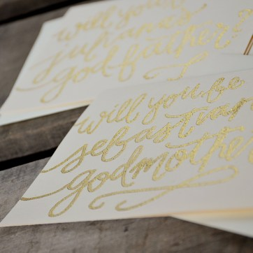Godmother Invitations by Your New Friend Sam - Cream Cardstock with Personalized Gold Glitter Embossing Detail