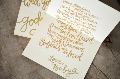 Godmother Invitations by Your New Friend Sam - Crream Cardstock with Gold Glitter Embossing and Gold Printed Poem with Signature