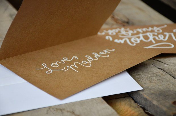 Godmother Invitations by Your New Friend Sam - Kraft Cardstock with Personalized White Embossing Signature