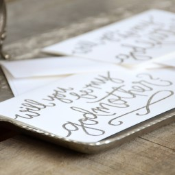 Godmother Invitations by Your New Friend Sam - White Cardstock with Silver Glitter Embossing Detail