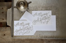 Godparent Invitations by Your New Friend Sam - White Cardstock with Silver Embossing
