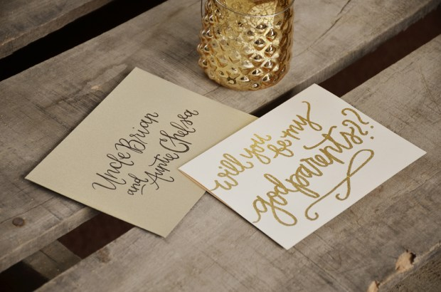 Godparents Invitations by Your New Friend Sam - Cream Cardstock with Gold Glitter Embossing and Gold Envelopes