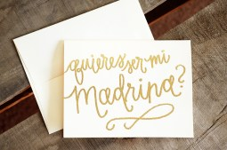Madrina Invitations by Your New Friend Sam - Cream Cardstock with Gold Glitter Embossing
