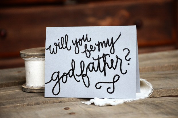 Will You Be My Godfather by Your New Friend Sam - Gray Cardstock with Black Sparkle Embossing