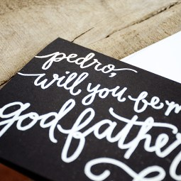Will You Be My Godfather Personalized by Your New Friend Sam - Black Cardstock with White Embossing