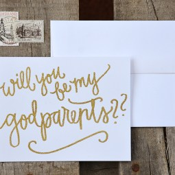 Will You Be My Godparents by Your New Friend Sam - White Cardstock with Gold Embossing 2