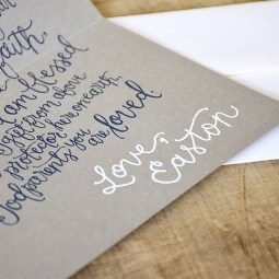 Will You Be My Godparents Personalized navy Poem and White Signature by Your New Friend Sam - Gray Cardstock with White Embossing 2