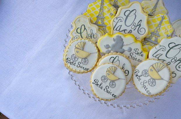 french country baby shower bebe soiree dessert table cookies 1
