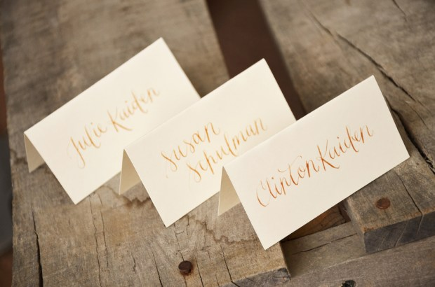 Your New Friend Sam Gold Ink Calligraphy Tent Cards