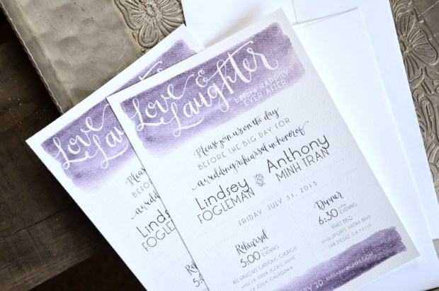 Sam Allen Creates Watercolor Rehearsal Dinner Invitation