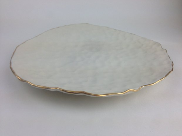 jenny rijke PLATTER. Modern, textured, organically formed white ceramic platter_plate with gold rim