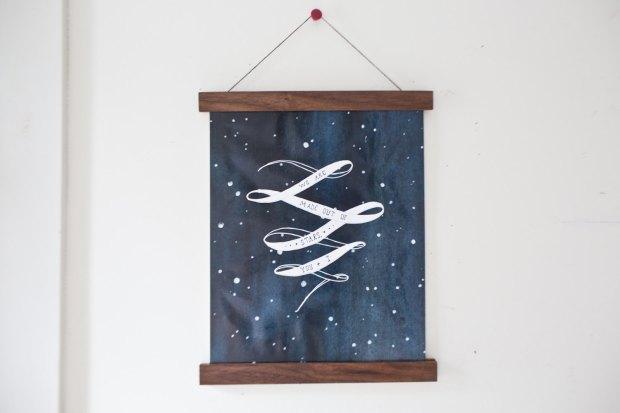 Magnetic Poster Holder - Walnut Artwork Print Holder Wooden Photo Holder Wood Frame Canvas Hanger