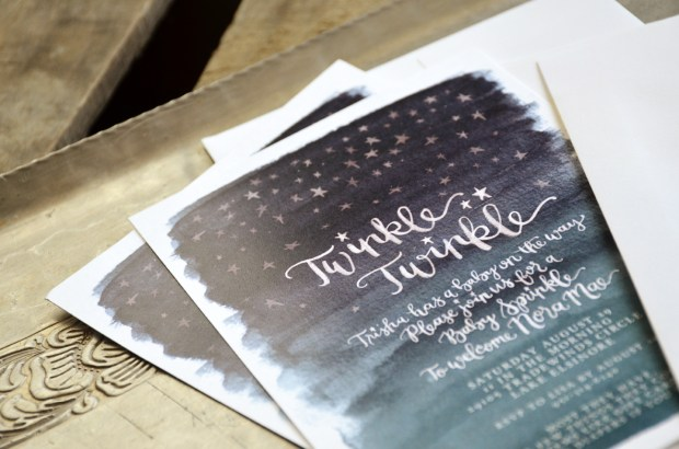 Twinkle Twinkle Baby Shower Watercolor Invitation 2