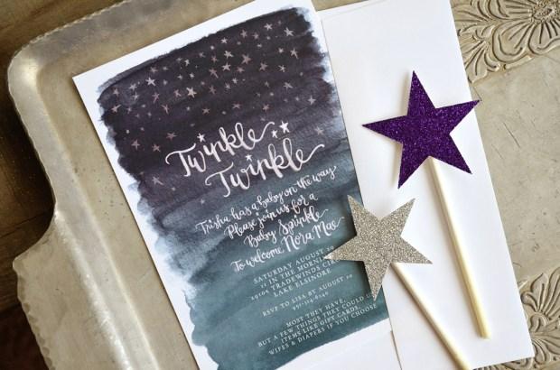 Twinkle Twinkle Baby Shower Watercolor Invitation 3