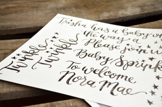 Twinkle Twinkle Baby Shower Watercolor Invitation Originals Detail