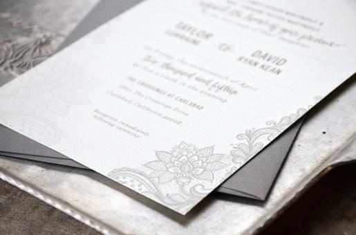 Sam Allen Creates Wedding Invitation Suite for Taylor lace detail