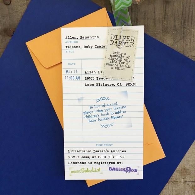 Storybook Baby Shower PennyAnnDesigns Library Card Invitation.JPG