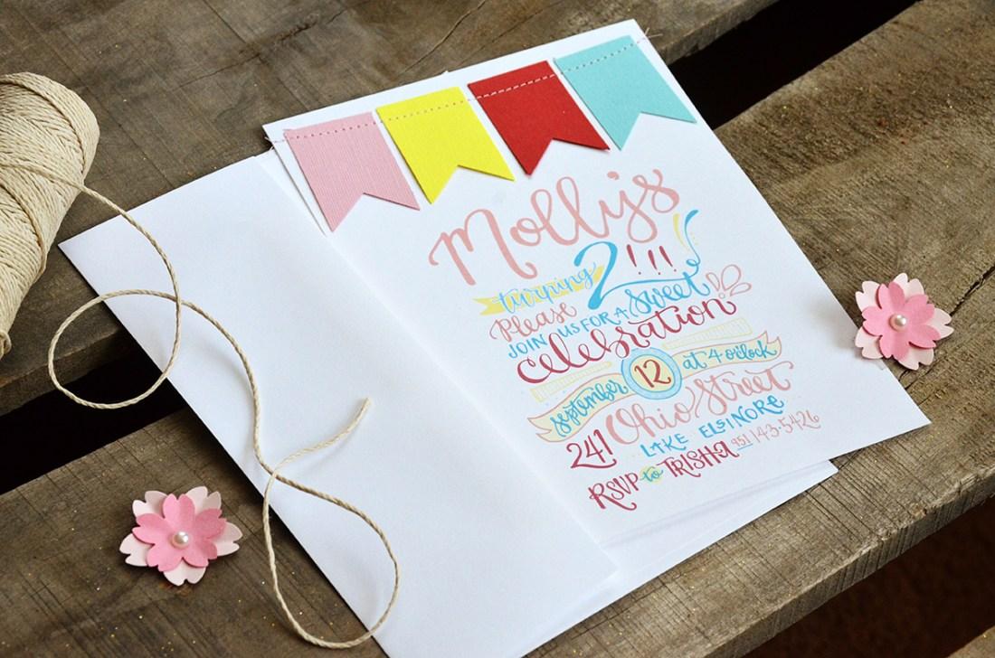 Mollys 2nd Birthday Handlettered Invitation 1