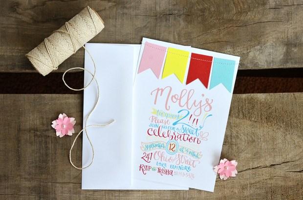 Mollys 2nd Birthday Handlettered Invitation 2