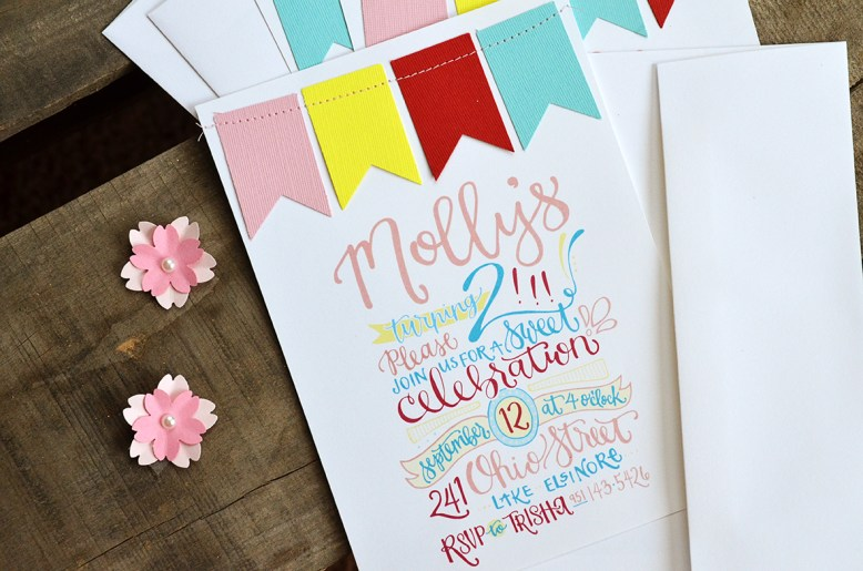 Mollys 2nd Birthday Handlettered Invitation 3