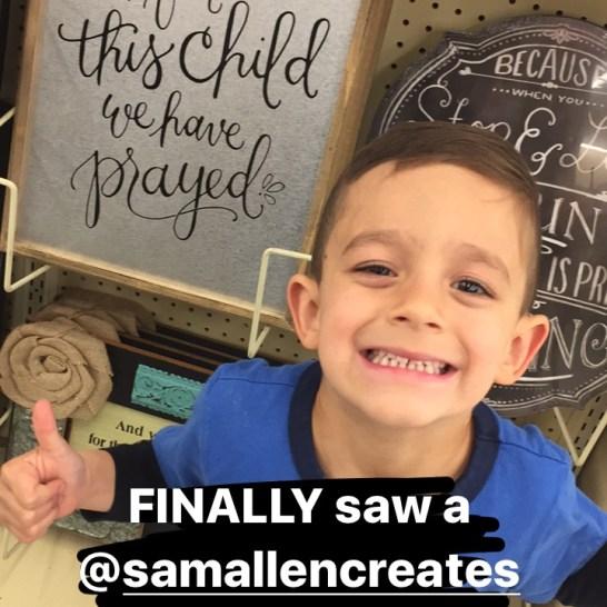 Sam Allen Creates for Hobby Lobby - For This Child We Prayed -Grayson