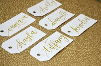 Small White Tags, Gold Ink in Calla Lily style