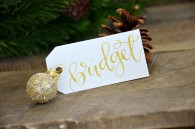 Small White Tags with Gold Ink, Dahlia Lettering Style