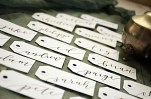 Your New Friend Sam Wedding Calligraphy Handwritten Name Tag Placecards White with Black Ink Calla Lily 2