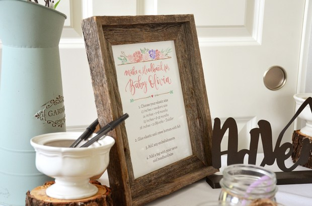 Shabby Chic Baby Shower Headband Station Sign