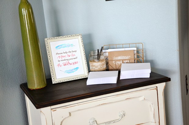 Shabby Chic Tribal Baby Shower Thank You Cards table
