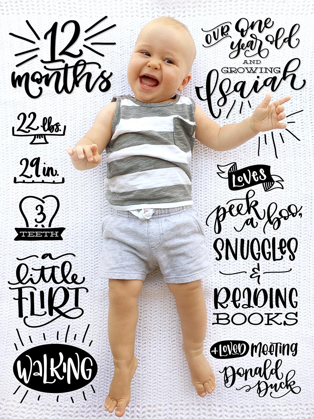 Sam Allen Creates Handlettered Isaiah Baby Twelve Months One Year