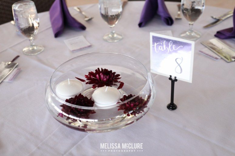 Sam Allen Creates Watercolor Wedding Reception Bali Hai Tablescape Floating Dahlia Centerpiece - Photo by Melissa McClure 3