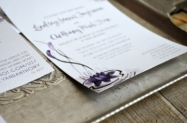 Sam Allen Creates Watercolor Weddng Invitation Water Lily Details