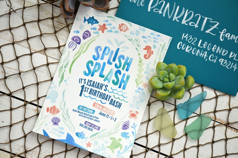 Sam Allen Creates - Isaiah's First Birthday - Under the Sea Birthday Invitation - Watercolor 3