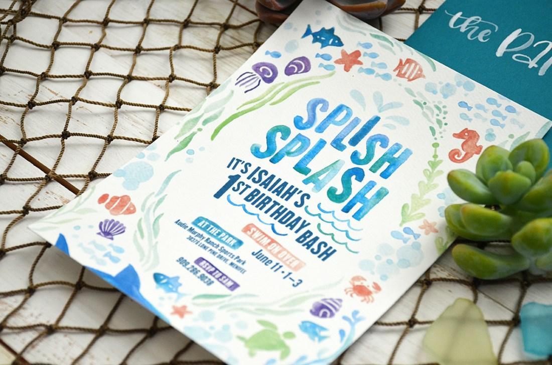 Sam Allen Creates - Isaiah's First Birthday - Under the Sea Birthday Invitation - Watercolor 5