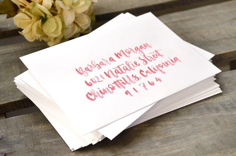 Sam Allen Creates Bridal Shower Envelope Addressing Watercolor detail