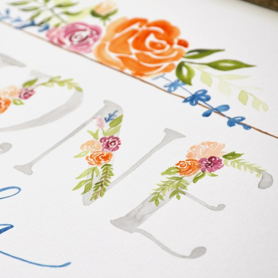 Sam Allen Creates Family Name Sign, Watercolor Floral Painting detail