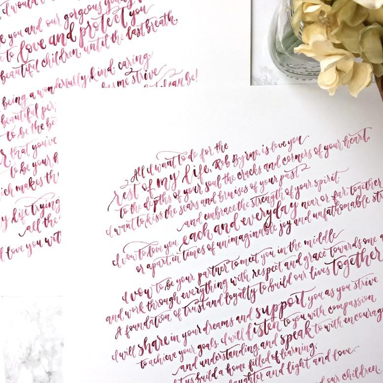 Sam Allen Creates Handwritten Watercolor Vows 16x20