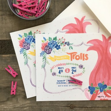 Sam Allen Creates Trolls Birthday Party Invitation