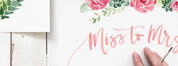 Sam Allen Creates Watercolor Painting Bridal Shower featured