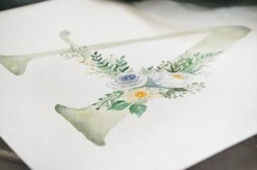 Sam Allen Creates Watercolor Floral Monogram A detail white flowers