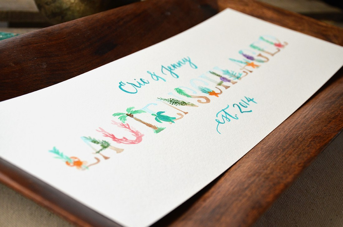 Sam Allen Creates Family Last Name Sign Beach Theme Watercolor painting