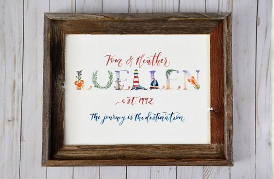 Sam Allen Creates Family Last Name Watercolor Painting - Maine Beach Theme
