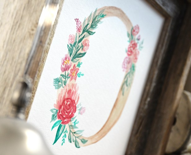 Sam Allen Creates Floral Wreath Monogram, Letter O detail