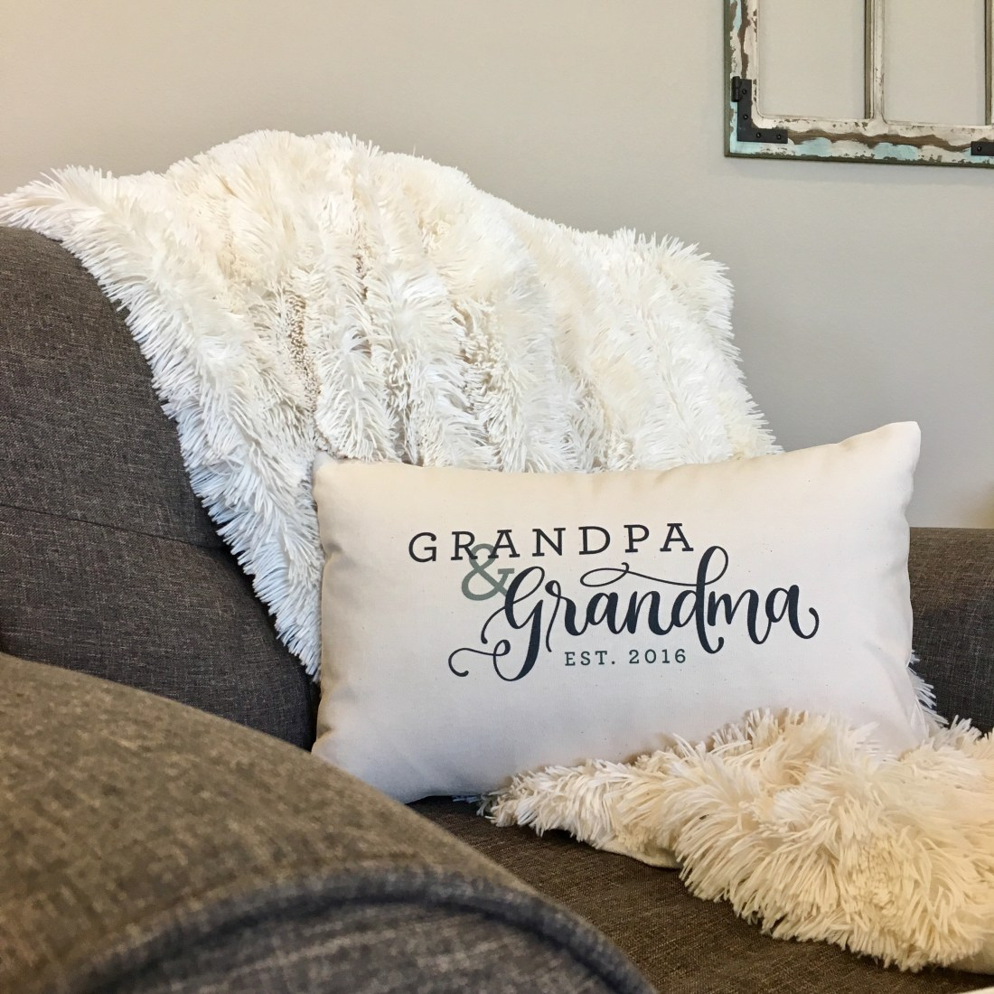 Sam Allen Creates Grandpa and Grandma Pillow Designs, Printed and Produced by Hen House Originals