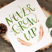 Sam Allen Creates Peter Pan Fan Art Watercolor Painting Never Grow Up Nursery Art